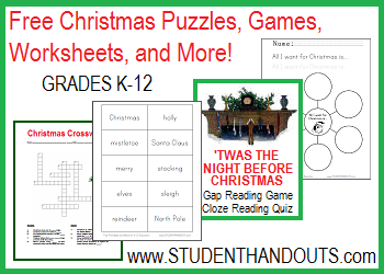 Free Christmas Holiday Activities, Worksheets, Games, and More