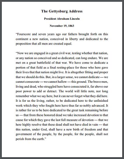 Gettysburg Address (1863) - Free to print (PDF file).