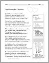 """Grandmama's Valentine"" Victorian Poem Worksheet"