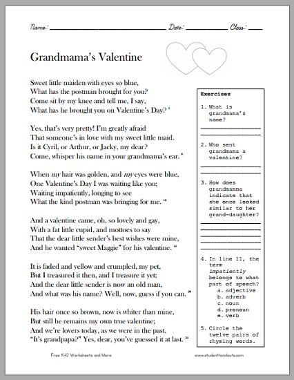 Grandmama's Valentine Victorian Poem Worksheet - Free to print (PDF file).