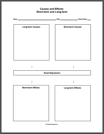 Causes and Effects of the Great Depression Blank Worksheet - Free to print (PDF file) for high school United States History students.