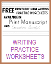 Assortment of Handwriting Practice Worksheets