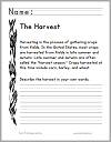Autumn Harvest Reading Worksheet for Grades K-2