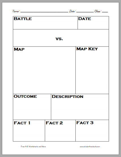 History Battle Notebooking Page - Free to print (PDF file).
