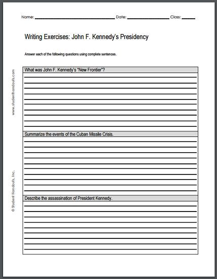 Writing Exercises Worksheet: John F. Kennedy's Presidency - Free to print (PDF file).