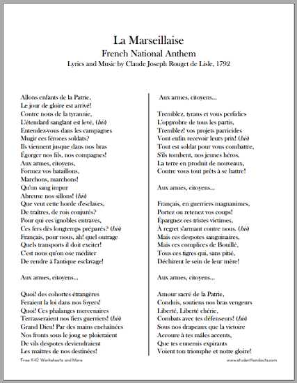 image about National Anthem Lyrics Printable titled La Millaise - French Nationwide Anthem College student Handouts
