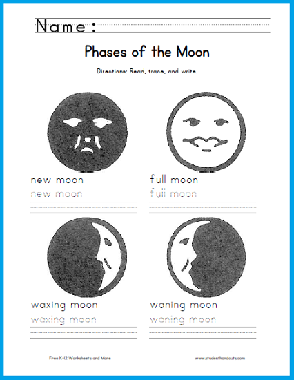 Moon Phases Handwriting Worksheet - Free to print (PDF file).