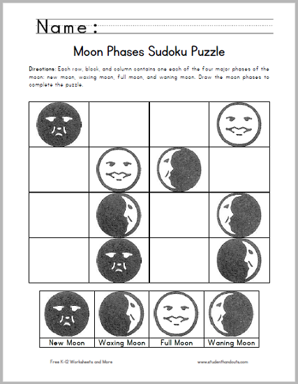 Moon Phases Sudoku Puzzle for Kids - Free to print (PDF file).