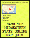 Name the Midwestern State Online Map Quiz