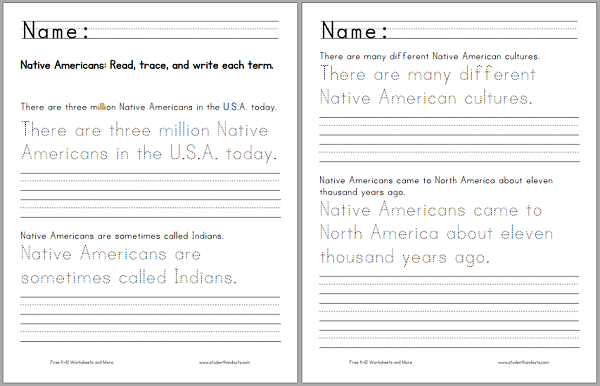 Native Americans Handwriting Practice - Worksheet is free to print (PDF file).