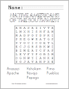 Native Americans of the Southwest Word Search Puzzle