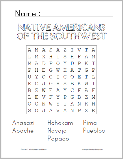 Native Americans of the Southwest - Word search puzzle is free to print (PDF file).