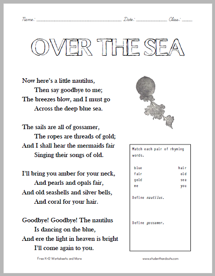 """Over the Sea"" Poem Worksheet for Children - Free to print (PDF file)."