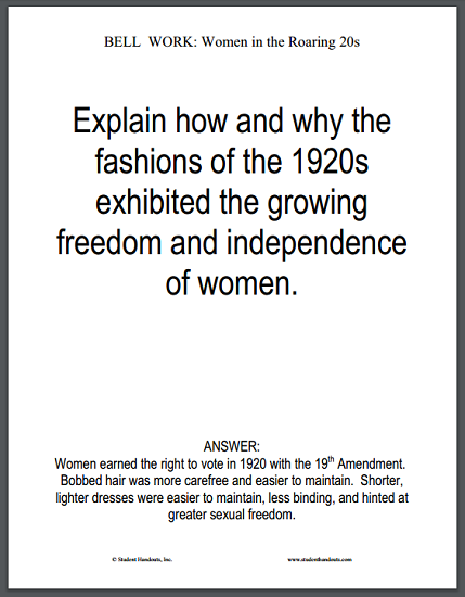 1920s Fashion Bell Work Question - Free to print (PDF file).