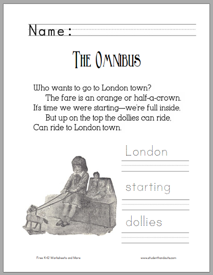 """The Omnibus"" Poem Worksheet for Children - Free to print (PDF file)."