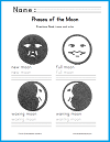 Moon Phases Handwriting Practice Worksheet