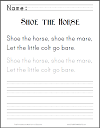Shoe the Horse Worksheet