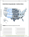 Southern States Map Identification Worksheet