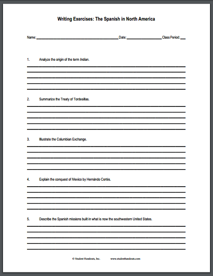 The Spanish in North America - Free printable worksheet of short-answer essay questions.