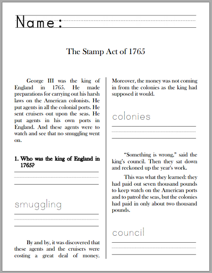 Stamp Act of 1765: History Workbook for Grades 1-3 - Free to print (PDF file).