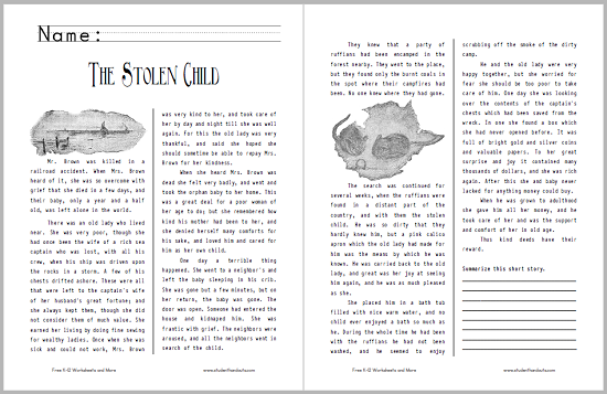 """The Stolen Child"" Short Story Handout - Free to print (PDF file)."
