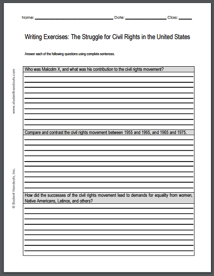Struggle for Civil Rights Writing Exercises Handout - Free to print (PDF file).