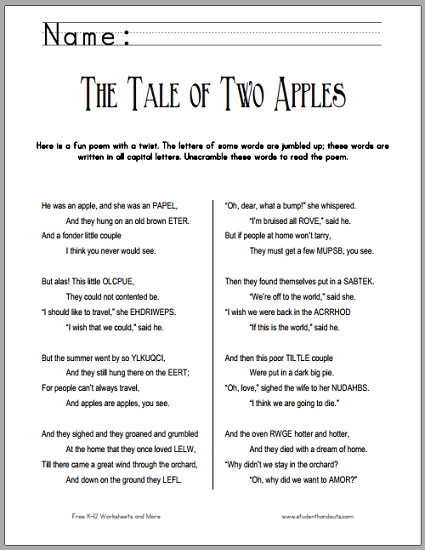 """The Tale of Two Apples"" Poetry Unscramble Worksheet - Free to print (PDF file)."