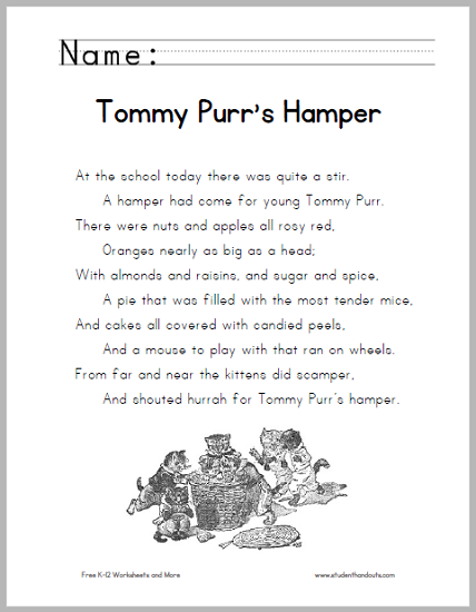 Tommy Purr's Hamper Poem - Free to print (PDF file).