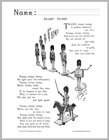 """Tramp, Tramp"" Poem Handout - Free to print (PDF file)."