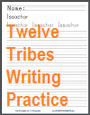 Twelve Tribes of Israel Handwriting Practice Worksheets