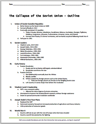 Collapse of the Soviet Union - Free printable outline for high school World History students  (PDF file).