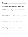 Veterans Day Trace and Print in Manuscript