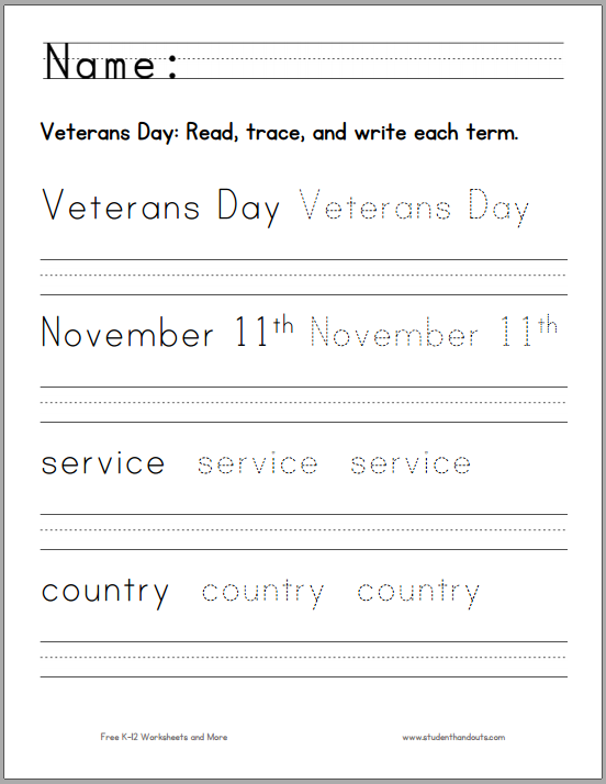 Veterans Day Handwriting and Spelling Worksheet - Free to print (PDF file).