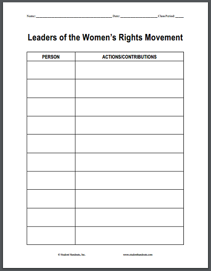 Leaders of the Women's Rights Movement DIY Blank Chart - Free to print (PDF file).