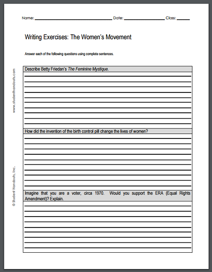 Women's Rights Movement Essay Questions - Sheet of three writing exercises is free to print (PDF file). For high school U.S. History students.