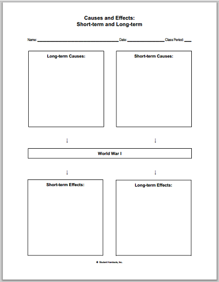 World War I Causes and Effects - Free printable worksheet.