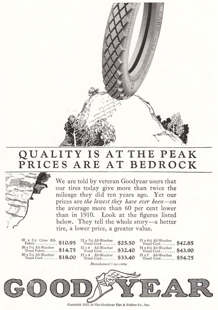 Vintage Goodyear Tire Ad from 1922