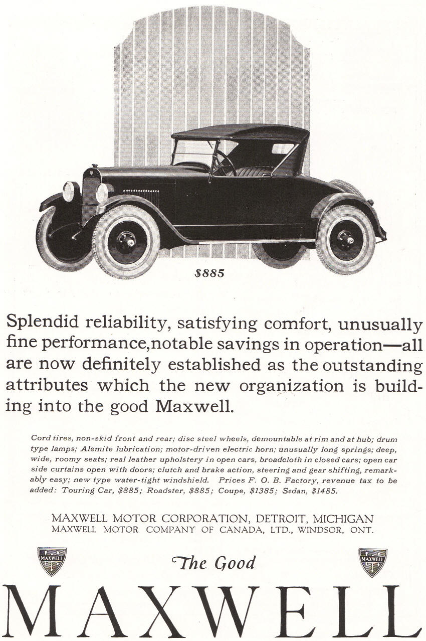 Antique Maxwell Motor Corporation Ad