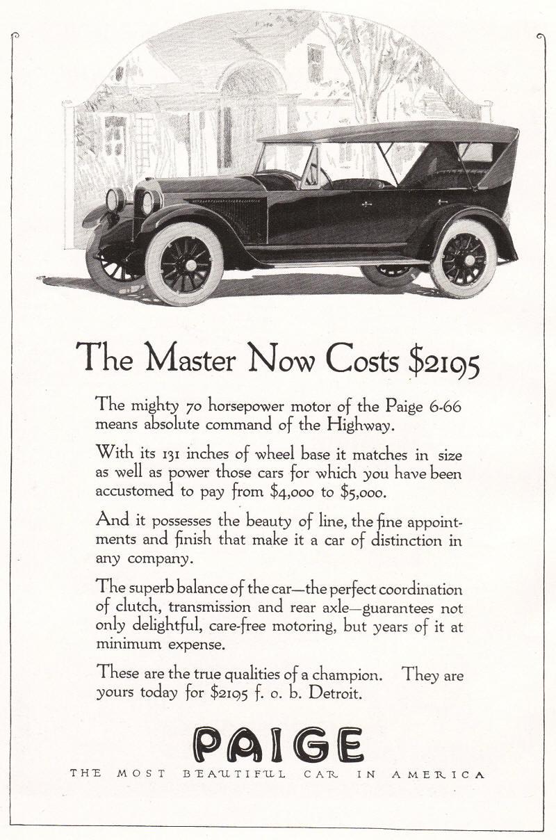 Paige Master Automobile Ad 1922