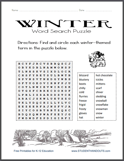 Winter Word Search Puzzle - Free to print (PDF file).