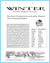 Winter Word Search Puzzle