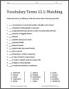 Matching Worksheet 11.1