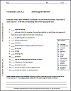Vocabulary Terms 11.2 Matching Worksheet