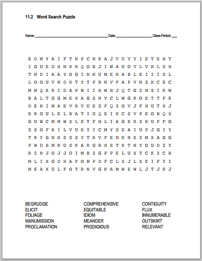11.2 Vocabulary Terms Word Search Puzzle - Free to print (PDF file).