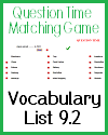 Vocabulary Terms 9.2 Question Time Matching Game