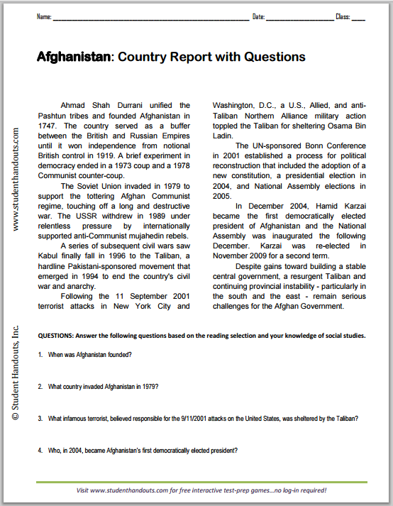 Afghanistan Country Report with Questions - Worksheet is free to print (PDF file).