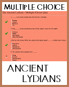 Ancient Lydians Multiple-Choice Quiz with 6 Questions