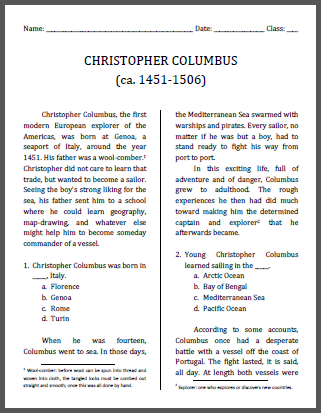 Christopher Columbus Workbook, Grades 4-6 - Free to print (PDF file).
