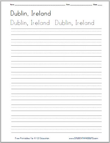 Ireland Handwriting Practice Worksheets - Free to print (PDF files) in print manuscript or cursive script.