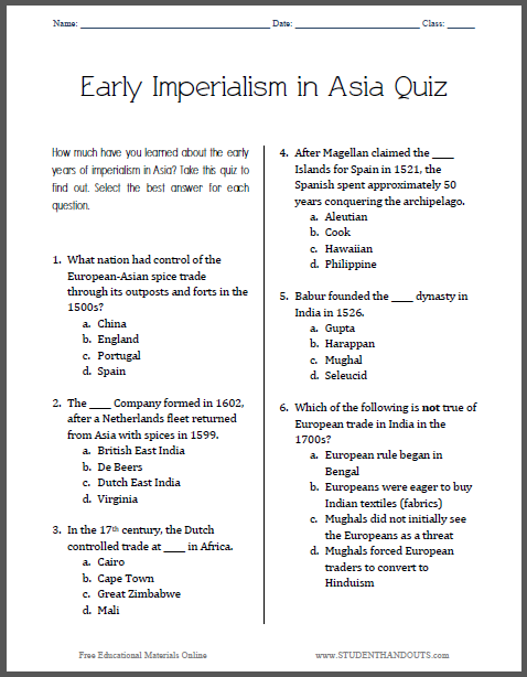 Early Imperialism in Asia - Pop Quiz for Grades 9-12 - Free to print (PDF file) for high school World History students and teachers.